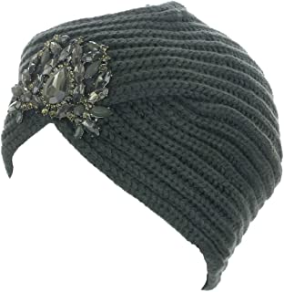 Women's Knit Jewel Accent Ribbed Beanie Turban
