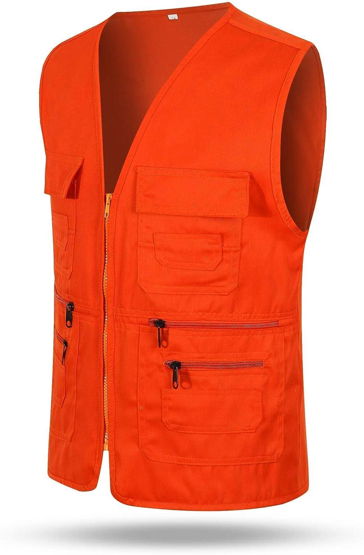 Mail Max 81% OFF order Flyani Men's Hunting Vest Orange Multiple Vests Pock Safety with