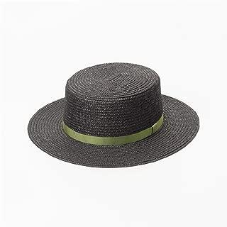 Vioaplem VIOAPLEM Women Men Gift Spring and Summer Multicolor Ribbon Decoration Flat Top Straw Hat Outdoor Travel Sunscreen Flat Straw Hat (Color : Green, Size : M)