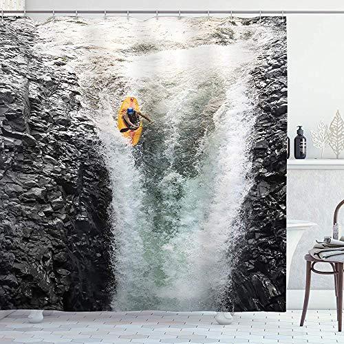 ASDAH waterval douchegordijn foto van de mens kajakken in kano stromen wild water natuur extreme buiten afdrukken doek stof badkamer Decor Set met haken Multi kleuren 66 * 72in