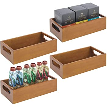 mDesign Juego de 4 cajas organizadoras con asas – Práctico cajón de madera para almacenar alimentos, especias, nueces o botellas – Organizador de cocina abierto en madera de bambú – marrón: Amazon.es: Hogar