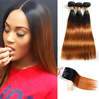 Feelgrace Hair Ombre Brazilian Straight Hair Two Tone Blond #1B/30 Hair Extensions. Black to Dark Brown Silky Straight Virgin Human Hair(16 18 20 with 14)