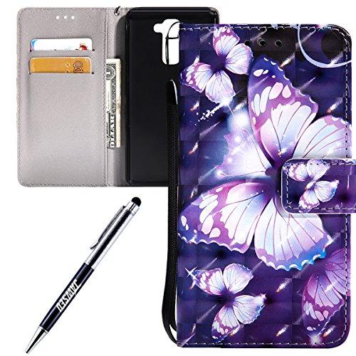 Kompatibel mit LG Stylo 2 Hülle Brieftasche Klapphülle mit Ständer Kartenfach Magnet 3D Effekt Design Tasche aus PU Leder Silikon Schutzhülle Lila Schmetterling