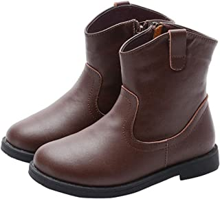 FC Girls Ankle Length Boots with Side Zip in Brown Colour
