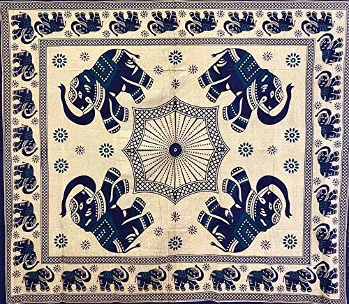 Telo Arredo Copritutto Grande Elefante Decorato Sabbiato 210x230 cm 100% Cotone Indiano (Blu)