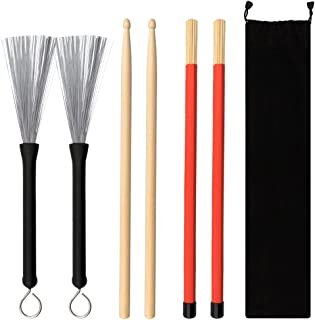URlighting Drum Sticks Set - 1 Pair 5A Drum Sticks,1 Pair Drum Rod Brushes Sticks,1 Pair Drum Wire Brushes with Storage Ba...