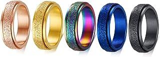 Jakob Miller 5Pcs 6MM Stainless Steel Spinner Ring Women Men, Matte Sand Blast Finish Fidget Ring Lucky Worry Ring Band, Size 7 to 12