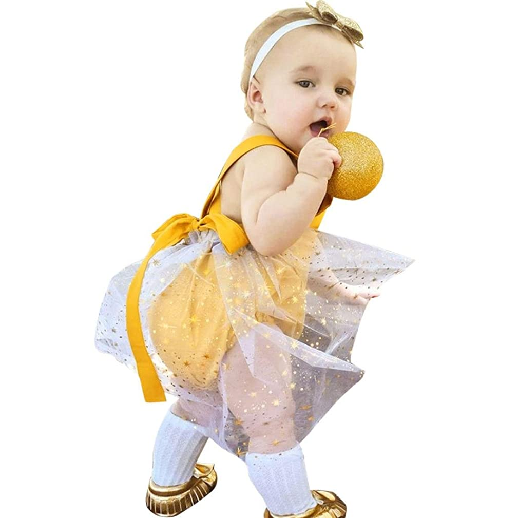 Efaster Newborn Infant Baby Girls Lace Gauze Straps Romper Outfits Clothes