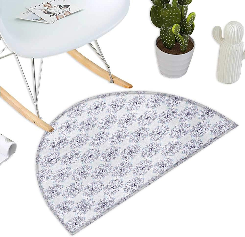 Snowflake Half Round Door mats Floral Arrangement with Winter Season Inspirations Swirls and Curves Design Bathroom Mat H 35.4  xD 53.1  Pale bluee purplec