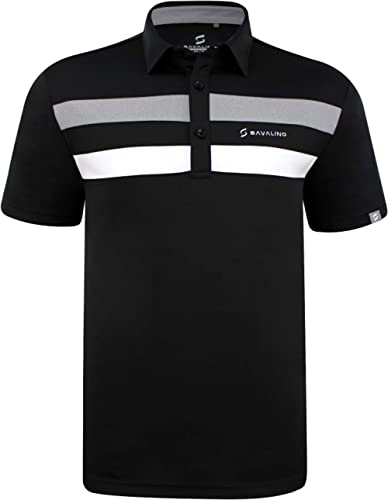 SAVALINO Men's Polo Shirts Material Wicks Sweat & Dries Fast, Size S-5XL…