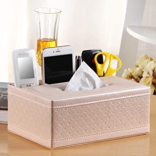 TZSZJH Leather Tissue Box Pumping Box Simple Bedside Coffee Table Remote Control Storage Box Paper Towel Box Paper Crystal...