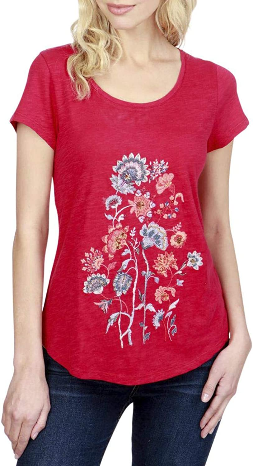 Lucky Brand Womens Embroidered Embellished TShirt