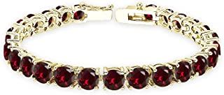 Sterling Silver Genuine, Created or Simulated Gemstone 6mm Round-cut Classic Tennis Bracelet