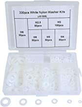 Boeray 330pcs Metric White Flat Nylon Washer Lock Washers Plastic Gasket Assortment Kit M2.5 M3 M4 M5 M6 M8