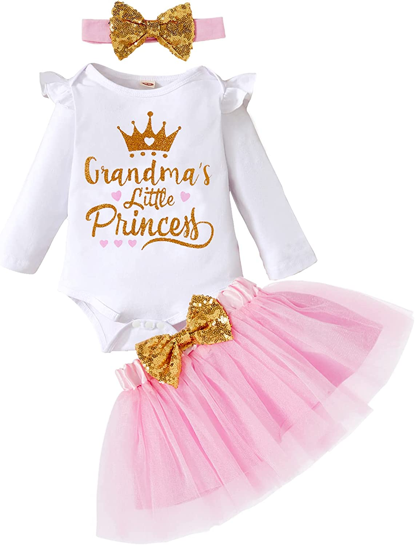 Newborn Baby Girls Skirt Set Grandma's Princess Romper Tutu Skirt Headband Outfit Clothes Coming Home: Clothing, Shoes & Jewelry