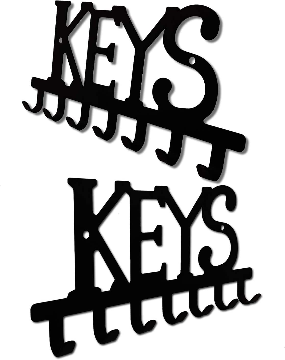 Kitchen,or Garage Store House 2 Pc Set Key Holder Wall Keys Hooks Racks Wall Mount Metal Organizer Home Decor Key Hanger Decorative with 4 Hooks for Front Door