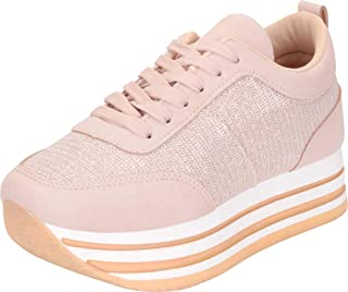 Cambridge Select Women's Glitter Lace-Up Chunky Striped Flatform Fashion Sneaker