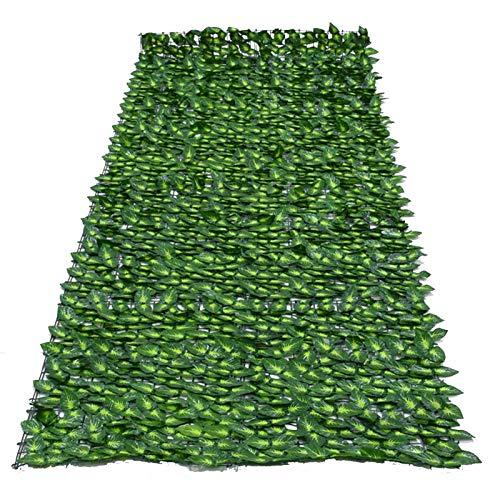 MRlegendary Künstliche Efeu Hecke, Gefälschte Pflanze Hängen Rattan Blatt Zaun Netz Anti-Ultraviolett-Sichtschutz, Balkon Patio Zaun Garten Wanddekoration(grün 1X3M)
