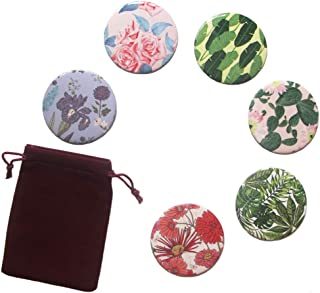 Exquisitto 6pcs Floral Leaves Print Circle Round Makeup Pocket Purse Mirror Adorable Small Gifts (Floral Leaves)