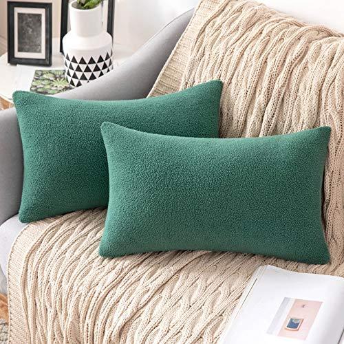 MIULEE 2 Unidades Fundas de cojín para sofá Almohada Caso de Diseño Compuesto de Polar Fleece Cómodo Decoración para Habitacion Juvenil Sofá Comedor Cama Dormitorio Oficina 30 x 50cm Verde