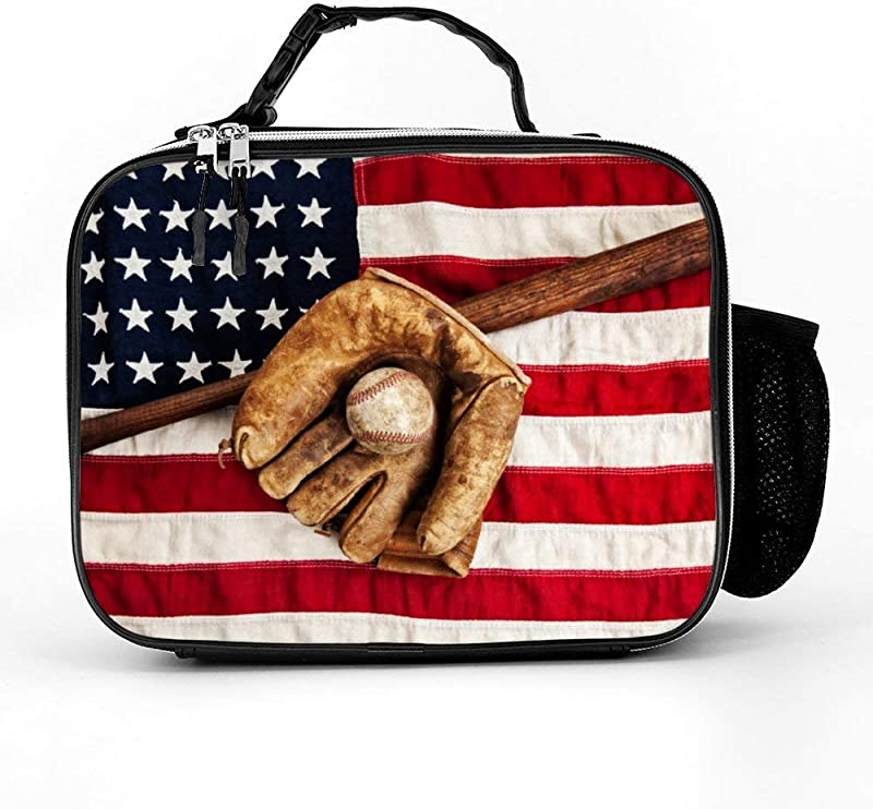 Sport Baseball Glove And Bat American Flag Insulated Neoprene Lunch Bag Tote Thermal Lunch Tote Lunch Box Bag Handbag For Women Men Kids Adults For School Work Office