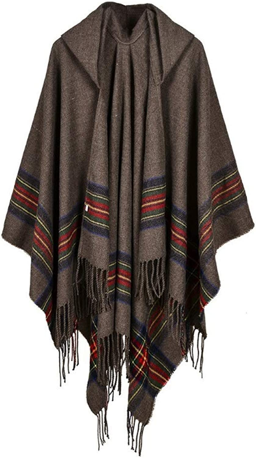 MSchunou Outdoor Travel Winter Striped Tassel Hooded Long Cloak Shawl, Teacher's Mother's Best Gift, Beautiful Soft Warm Shawl, Suitable for More Places to use, Classic Fashion Ladies Shawl