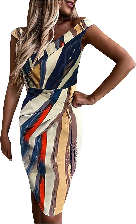 Hengyaai Womens Formal Dress, Sleeveless Wrap V Neck Retro Color Block Slim Business Pencil Dress Tie Waist Cocktail Dress
