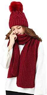 KRATARC Cold Winter Women Warm Scarf Beanie Hat Set Kintted Fleece