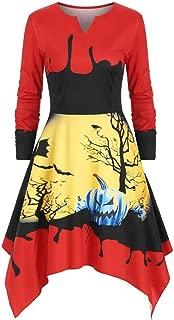 Kauneus Women's Halloween Irregular Print Dress Fashion Pumpkin Day Fun Long Sleeve V-Neck Plus Size Midi Dress