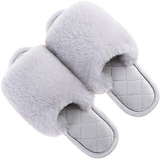 Zapatillas de Casa Peludas Mujer Antideslizante Cálido Planas Pantuflas Invierno Abiertas Zapatillas para Mujer