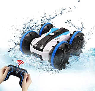 Seckton Car Toys for 6-10 Year Old Boys Girls Amphibious Remote Control Car for Kids 2.4 GHz Remote Control Boat 4WD Off Road Truck Stunt Car Waterproof RC Car for Christmas Birthday Gifts Blue