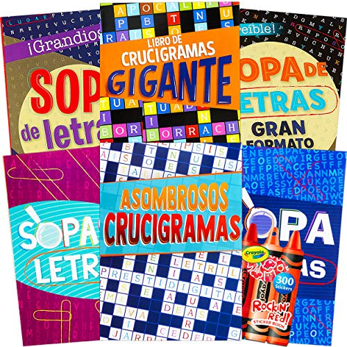 Spanish Word Find and Crossword Puzzle Books for Adults Seniors - Set of 6 Crossword Word Search Books (Over 390 Puzzles Total) with Reward Stickers ~ Libros de Crucigramas para Adultos