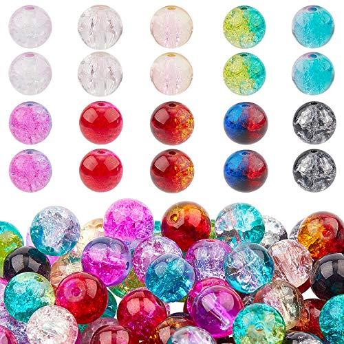 PandaHall Cuentas de cristal agrietado para hacer joyas de adultos, 200 unidades, 10 colores, 8 mm, cuentas de cristal redondas para abalorios, collares, pulseras, pendientes