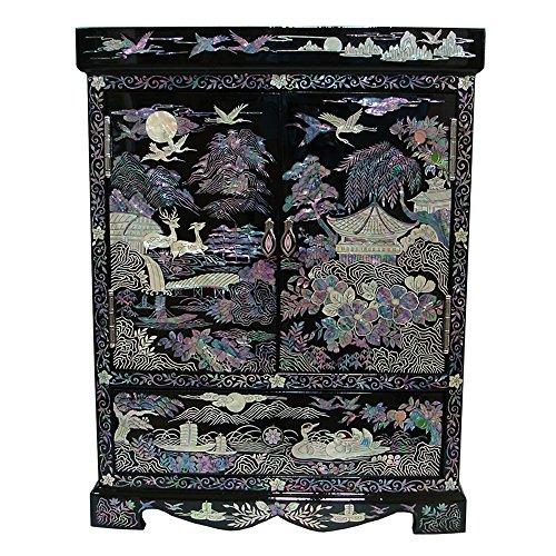 Perlmutt-Inlay, Querformat, Design große Schublade, lackiert, stehend, aus Holz, handgefertigte Halskette Anhänger Schmuckkästchen Treasure Box Aufbewahrungsbox/Organizer-Tasche auf der Brust