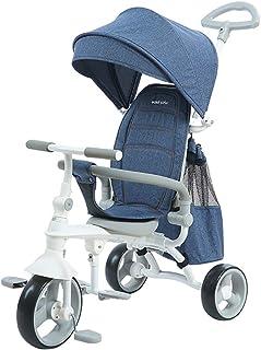 (Newox) 三輪車 折りたたみ 子供用 乗用玩具 ハンドル調節可 後ろカゴ付き 空気入れ不要 (ネイビー)