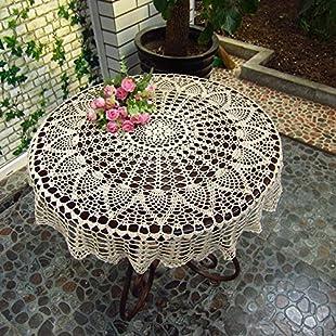 "Ustide 31.5"" Handmade Crochet Round Cotton Tablecloth Lace Doilies Crochet Tablecloths for Wedding:Labuttanret"