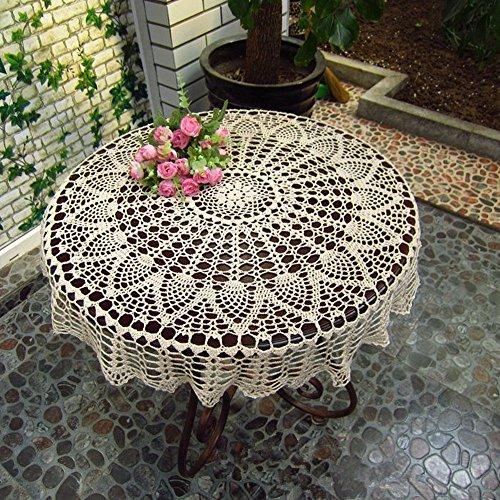 Ustide, handgefertigte Häkel-Baumwolltischdecke, rund, floral, Spitze-Deckchen, für Hochzeit, Dekoration, 79cm, Farbe: Creme, baumwolle, beige, 31.4 inch