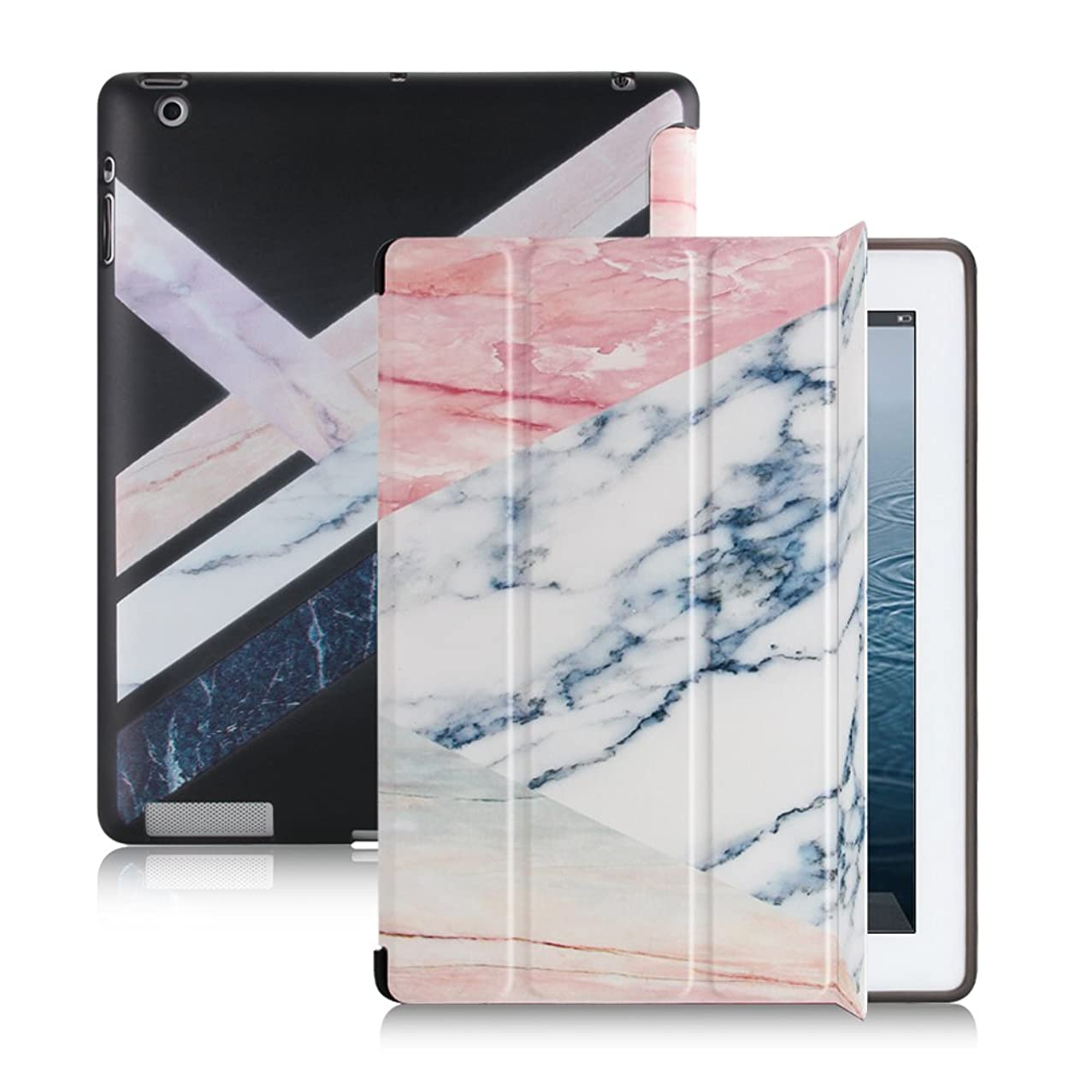 Smart Folio Case for iPad 4/3/2 Marble Pattern, Magnetic Auto Wake/Sleep Ultra Slim Trifold with Stand Flexible Soft TPU Cover Compatible Apple iPad 2nd 3rd 4th Generation case (Rose Gold White)