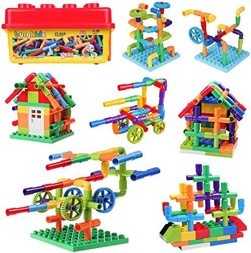 burgkidz 414 Stück Baubausteine Rohrrohrspielzeug, Sensorische Wasserrohrschlösser Konstruktionsspielzeug, Pädagogisches STEM Bauspielzeug mit Rädern und Grundplatte für Jungen Mädchen