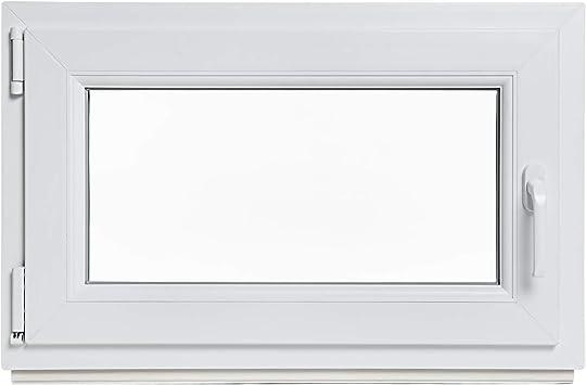 DIN rechts Panorama24 Kellerfenster wei/ß 60mm Profil LAGERWARE 3-fach-Verglasung Kunststoff Fenster BxH: 110x60 cm