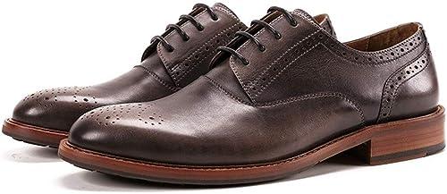 EGS-chaussures Décontracté Hommes Bullock sculpté Derby Chaussures Chaussures en Cuir à la Main Vintage Main Haut de Gamme Vintage à la Main Chaussures de Cricket (Couleur   marron, Taille   43-EU)  magasiner en ligne aujourd'hui