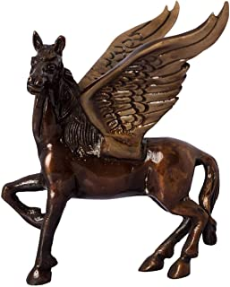 Antique Finish Brass Flying Angel Horse (12.5 cm x 15 cm x 10 cm, Brown and Black)