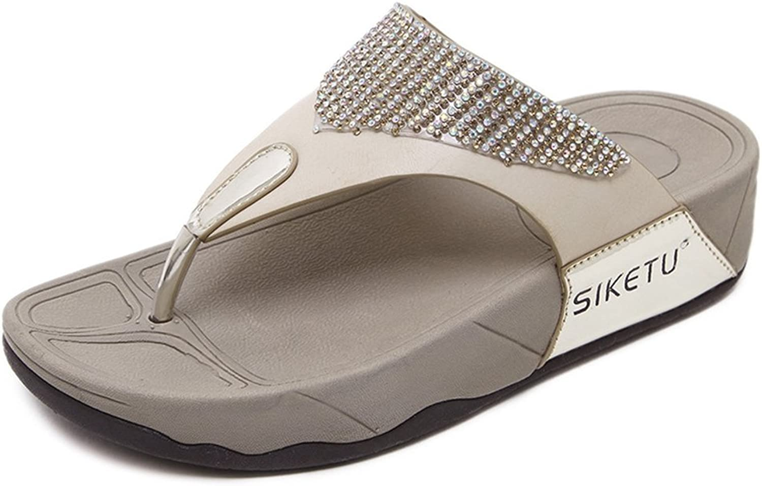 AVENBER Women's Thong Flip-Flop Sandals Crystal Rhinestone Slip-On Platform Thick Sole Footbed Wedge Slippers for Girls