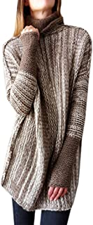 NiuBia Womens Turtleneck Heathered Pullover Sweaters Long Sleeve Cable Knit Warm Chunky Oversized Fall Tops