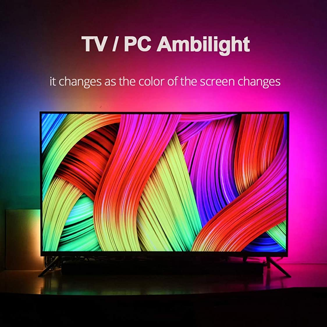 騒々しい簡単なすり減るLEDストリップライト、TVバックライト、DIY Ambilight TV PCドリームスクリーン、アドレス指定可能なLedストリップランプ、Bluetooth音楽TVバックライト1/2/3/4 /,4m