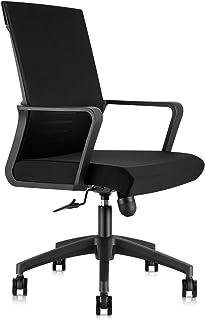 RayGoo オフィスチェア デスクチェア ロッキング ワークチェア メッシュ パソコンチェア 130度 ロッキング コンパクト 360度回転 通気性 事務椅子 腰サポート 日本語説明書付き (ブラック-Q55)