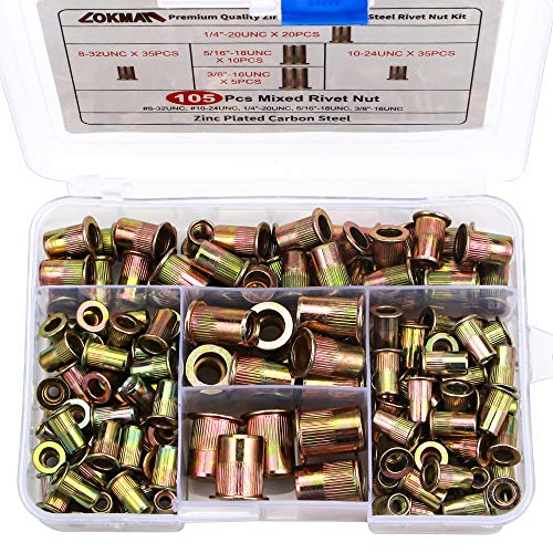 Rivet Nut, LOKMAN 105PCS Assort 8-32UNC 10-24UNC 1/4