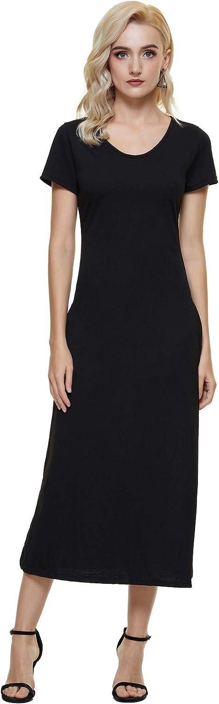 aisyfull Women's Summer Short Sleeve Dress Long Sundress Split Maxi Dresses with Pockets