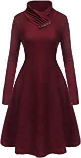 Beyove Women's Casual Long Sleeve Cowl Neck Loose Swing A Line Tunic Dress Wine Red S