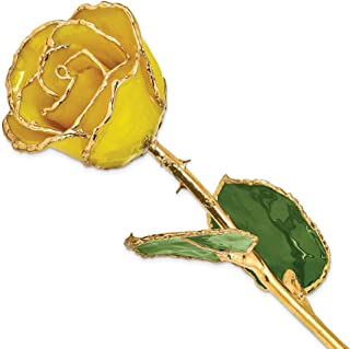 Allmygold Jewelers 24k Gold Dipped Real Yellow Rose